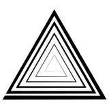 El espiral triangular, un laberinto, vector la ilusión óptica, ilusión de la profundidad, plantilla, logotipo, tatuaje del triáng ilustración del vector