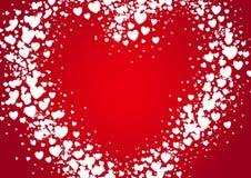 El espray de la tarjeta del día de tarjetas del día de San Valentín de la forma del corazón pintado con la dispersión al azar oye Imagen de archivo