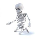 el esqueleto 3d se arrodilla suplicantemente ilustración del vector