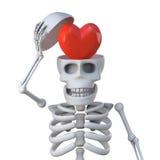 el esqueleto 3d tiene un corazón para un cerebro ilustración del vector