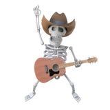 el esqueleto del vaquero 3d salta en el aire con su guitarra acústica Fotos de archivo libres de regalías
