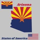El esquema del mapa y la bandera de Arizona, rojo y soldadura-amarillo en la mitad superior, con la estrella y el resto de la ban stock de ilustración