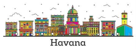 El esquema Havana Cuba City Skyline con los edificios del color aisló o stock de ilustración
