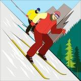 El esquiador de la montaña Imágenes de archivo libres de regalías