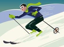 El esquiador de la montaña resbala de la montaña Fotos de archivo