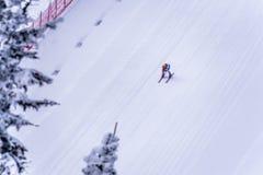 El esquiador que compite con abajo de la cuesta escarpada del esquí de la velocidad en el desafío de la velocidad y FIS apresuran Imágenes de archivo libres de regalías