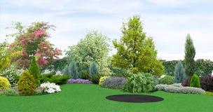 El establecimiento del patio trasero del verdor, 3d rinde stock de ilustración