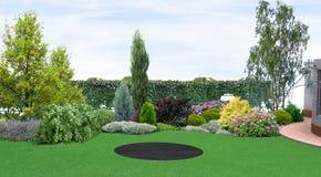 El establecimiento del patio trasero del verdor, 3d rinde libre illustration