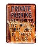 El estacionamiento privado canta aislado en blanco Imagen de archivo