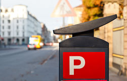El estacionar canta en ciudad Imagen de archivo libre de regalías