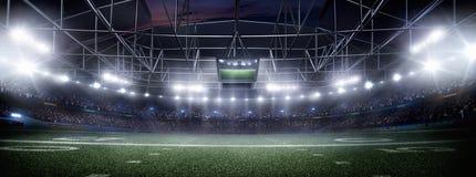 El estadio de fútbol americano vacío 3D en rayos ligeros en la noche rinde Imágenes de archivo libres de regalías