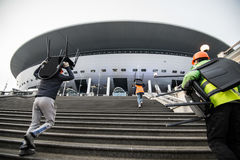 El estadio de fútbol principal para el mundial 2018 Imagen de archivo libre de regalías