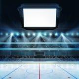 El estadio del hockey con las fans y el cubo en blanco mandan un SMS al espacio Foto de archivo libre de regalías