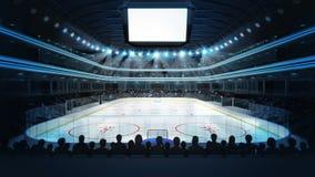 El estadio del hockey con los espectadores y el cubo en blanco mandan un SMS al espacio Fotografía de archivo libre de regalías