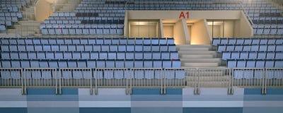 el estadio del hockey 3d con un asiento vacío rema la representación stock de ilustración
