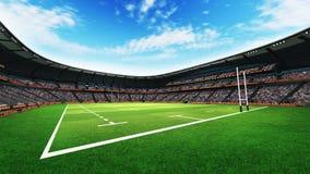 El estadio del rugbi con las fans y la hierba echan en la luz del día Imagenes de archivo