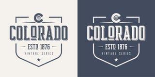 El estado de Colorado texturizó el desig de la camiseta y de la ropa del vector del vintage libre illustration