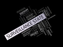 El ESTADO de la VIGILANCIA - LIBERTAD - imagen con palabras se asoció a la PROTECCIÓN DE DATOS del tema, nube de la palabra, cubo Fotos de archivo