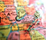 El estado del mapa los E.E.U.U. de Kentucky se centra el tiro macro en el globo para los blogs del viaje, los medios sociales, la fotografía de archivo libre de regalías