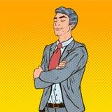 El estallido Art Businessman con el suyo observa cerrado ilustración del vector
