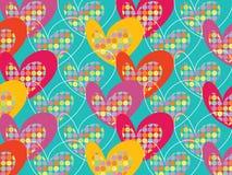 El estallido colorido retro puntea corazones en la turquesa Imagen de archivo