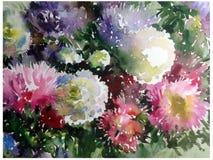 El estampado de flores abstracto del fondo de la acuarela florece el wallpape hermoso borroso de la mano de la decoración del lav Imagenes de archivo