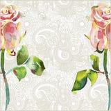 El estampado de flores adornado con la acuarela rosada subió ilustración del vector