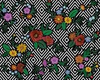 El estampado de flores colorido del bordado con las rosas de perro y me olvida no las flores Ornamento tradicional de la moda de  stock de ilustración