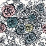 El estampado de flores con las rosas remolina para el diseño Fotografía de archivo