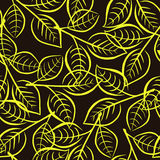 El estampado de flores inconsútil con amarillo brillante se va en las ramas Imagenes de archivo