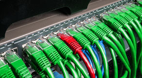 El estante del servidor con el cordón de remiendo verde y rojo de Internet telegrafía imagen de archivo libre de regalías