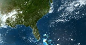 El estar en órbita encima al este de Norteamérica los E.E.U.U. 4K stock de ilustración