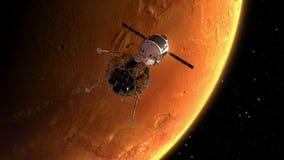 El estar en órbita interplanetario de la estación espacial estropea ilustración del vector