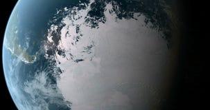 El estar en órbita sobre South Pole 4K stock de ilustración