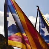 El estelada, la bandera catalan de la favorable-independencia Imagenes de archivo