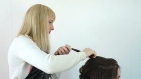 El estilista endereza un filamento del pelo en el jefe del modelo metrajes