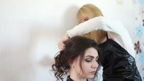 El estilista fija a la muchacha del peinado metrajes