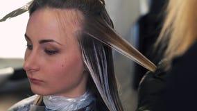 El estilista hace coloración del cabello en el estudio de la belleza, mujer cambia su mirada, colorante profesional y cuidado del almacen de video