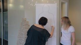 El estilista muestra la figura características para el bosquejo integral del esquema del cliente metrajes