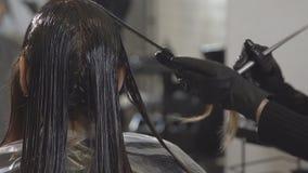 El estilista pinta un pelo del ` s de la mujer joven en un salón de belleza, primer metrajes