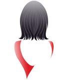 El estilo de pelo corto de las mujeres, mujeres apoya y vestido rojo en el fondo blanco