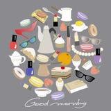 El estilo del garabato fijó con los objetos de la mañana y del desayuno Ejemplo colorido del vector en backgraund del dack libre illustration