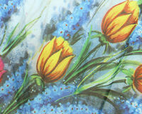 El estilo del vintage de la tapicería florece el fondo del modelo de la tela Fotos de archivo