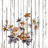 El estilo del vintage de la tapicería florece el modelo de la tela en la parte posterior de madera Foto de archivo libre de regalías