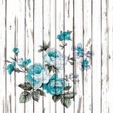 El estilo del vintage de la tapicería florece el modelo de la tela en la parte posterior de madera Imagen de archivo libre de regalías