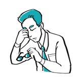 El estilo dibujado mano del garabato un hombre de negocios es preocupante, ejemplo Fotos de archivo libres de regalías