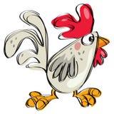 El estilo infantil ingenuo del dibujo del gallo del bebé de la historieta aisló blanco Imagen de archivo