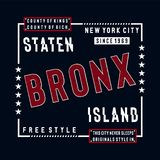El estilo libre staten la camiseta typografhy del diseño de la isla para la camiseta stock de ilustración