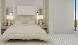 El estilo minimalista y escandinavo con el interior acogedor del dormitorio y 3d rinde Fotografía de archivo libre de regalías