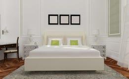 El estilo minimalista y escandinavo con el interior acogedor del dormitorio y 3d rinde Imágenes de archivo libres de regalías